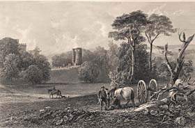 Remains of the Old Castle of Douglas, drawn by J.C. Brown, engraved by William Forrest, 1842 (Corson A.7.a.1842/118)