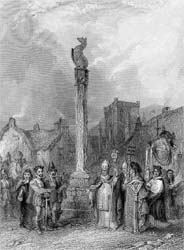 Cross of Melrose, engraving by Robert Staines after Henry Melville, 1831 (P.3008)