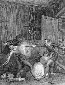 Nigel Encountering the Murderers of Trapbois, drawn by Thomas M. Wright, engraved by John Romney, 1832 (P.3505)