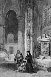Strasburg Cathedral: Margaret of Anjou & Philipson, engraved by Robert Staines after John Franklin, 1838 (Corson P.3710)