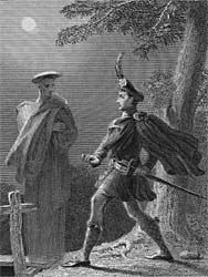Mac Ivor Warned of His Fate by the Grey Spirit, engraved by James Mitchell after Charles Robert Leslie, 1832 (Corson P.3469)